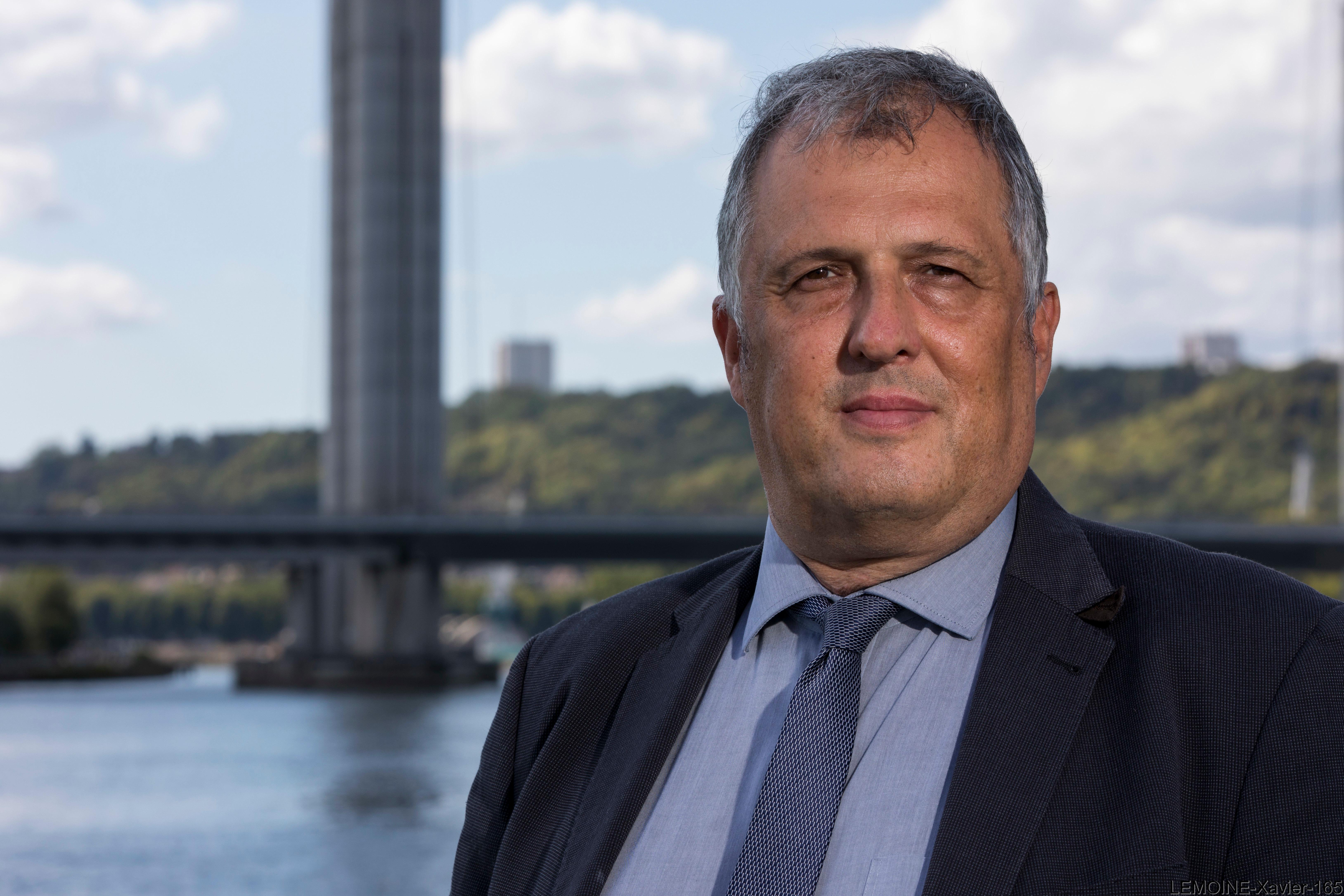 Xavier LEMOINE, Directeur de l'Aménagement Territorial et de l'Environnement du Port de Rouen. 28 aout 2020. © HAROPA/Laurent Guichardon.