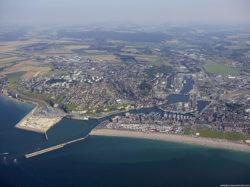 vue aérienne du port de Dieppe