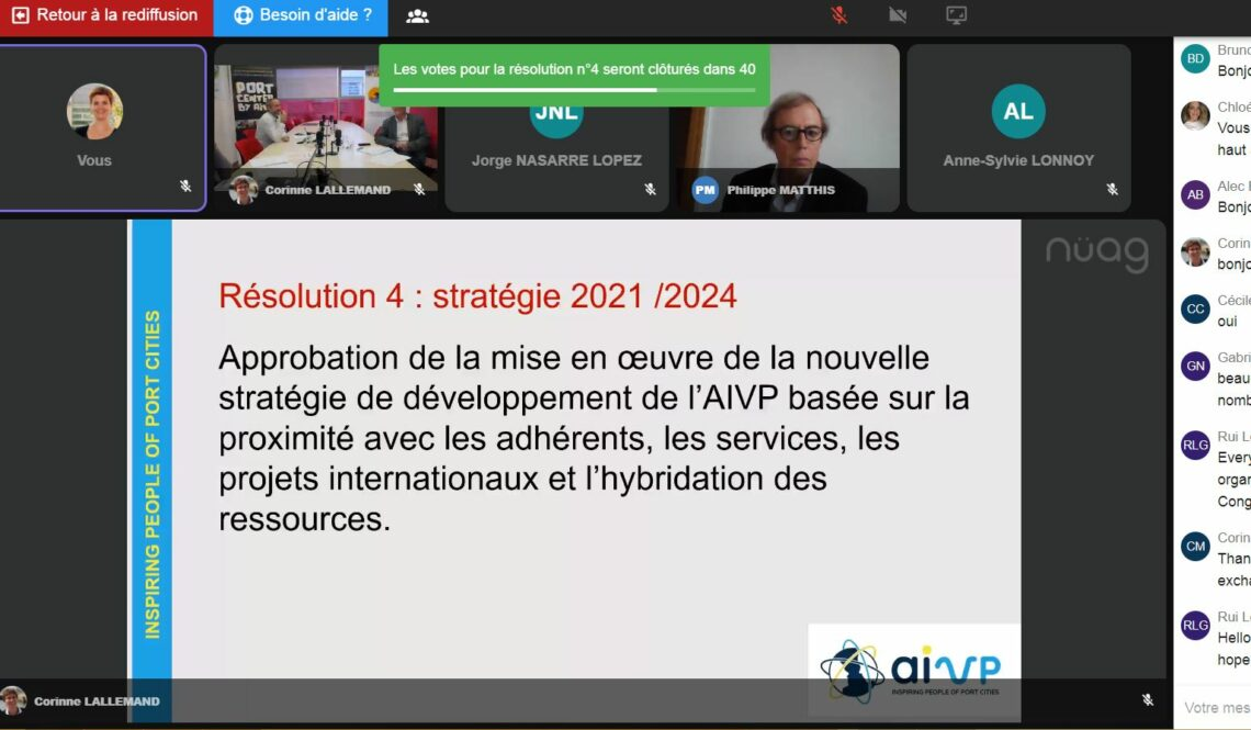 capture d'écran de l'AG virtuelle AIVP