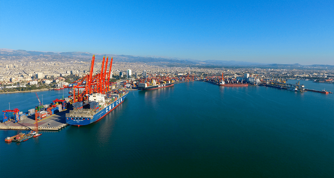 aerial picture of the port of mersin, turkey