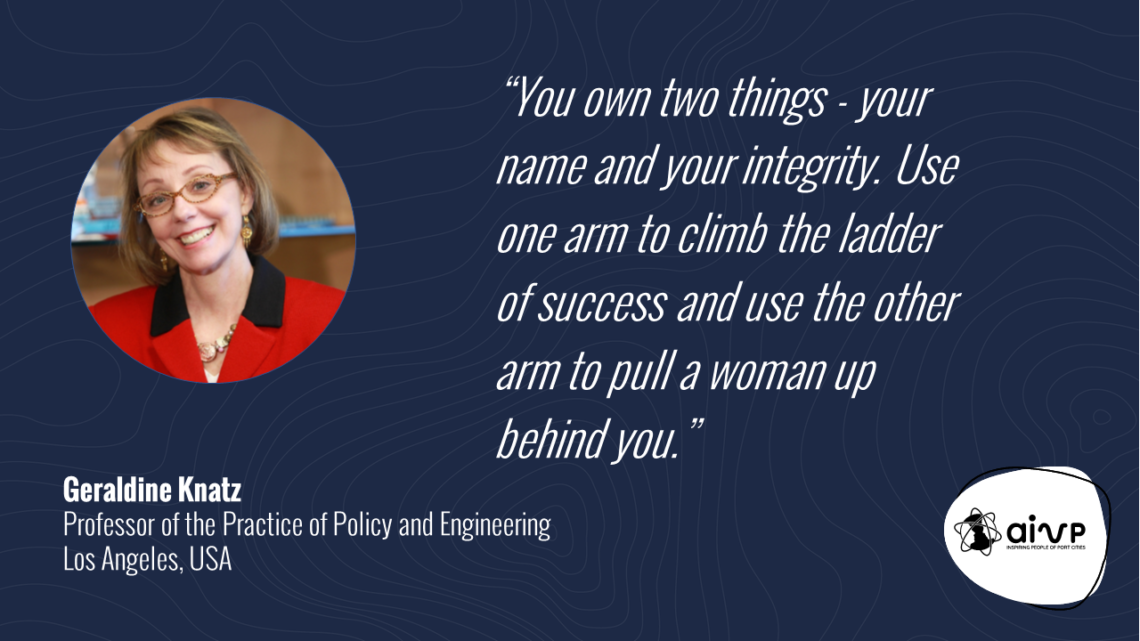 """quote about women in ports by Geraldine KNATZ """"You own two things - your name and your integrity. Use one arm to climb the ladder of success and use the other arm to pull a woman up behind you."""""""